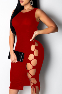 Burgundy Sexy Solid Hollowed Out O Neck Pencil Skirt Dresses