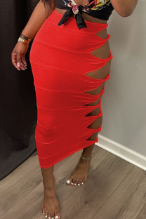 Red Sexy Solid Hollowed Out Skinny Mid Waist Pencil Solid Color Bottoms