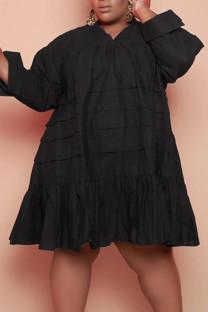Black Casual Solid Split Joint Flounce V Neck Princess Plus Size Dresses