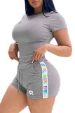 Grey Fashion Casual adult Ma'am Letter Two Piece Suits Straight Short Sleeve Two Pieces