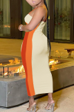 Purple Sexy Solid Hollowed Out Spaghetti Strap Pencil Skirt Dresses