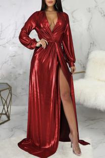 Burgundy Sexy Solid Split Joint V Neck Irregular Dress Dresses