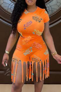 Orange Fashion Casual Print Tassel O Neck Short Sleeve Two Pieces