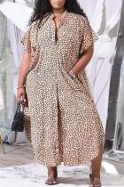 Leopard Print Sexy Print Split Joint Turndown Collar Straight Plus Size Dresses