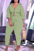 Green Casual Solid Split Joint Turndown Collar Plus Size Two Pieces