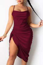 Burgundy Sexy Solid Split Joint Spaghetti Strap Irregular Dress Dresses