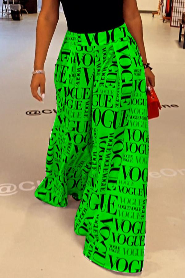 Green College Print Split Joint Loose High Waist Wide Leg Full Print Bottoms
