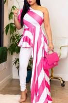 Pink Street Striped Print Split Joint Asymmetrical Oblique Collar Irregular Dress Dresses