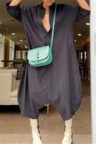 Black Fashion Casual Solid Basic V Neck Loose Jumpsuits