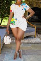 White Sexy Patchwork Tie-dye O Neck Pencil Skirt Plus Size Dresses