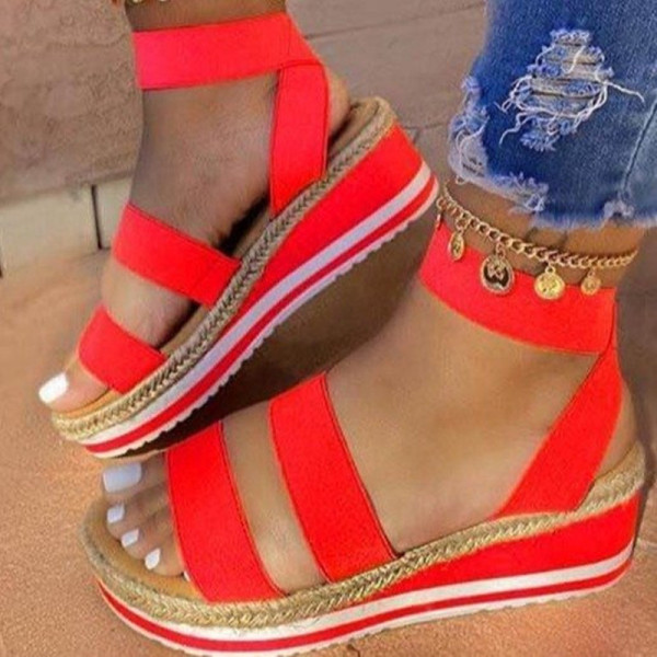 Red Fashion Casual Split Joint Round Sandals