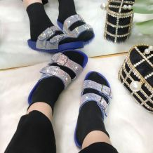 Blue Fashion Casual Split Joint Rhinestone Flats Slippers