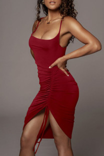 Burgundy Sexy Solid Split Joint Draw String Fold Spaghetti Strap Sling Dress Dresses