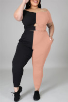 Pink Fashion Casual Patchwork Hollowed Out Off the Shoulder Plus Size Two Pieces