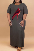 Grey Fashion Casual Plus Size Print Slit O Neck Short Sleeve Dress