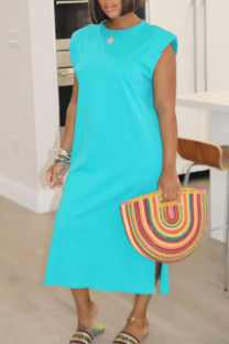 Cyan Casual Solid Split Joint O Neck Straight Dresses