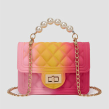 Pink Yellow Fashion Casual Gradual Change Chains Pearl Messenger Bag