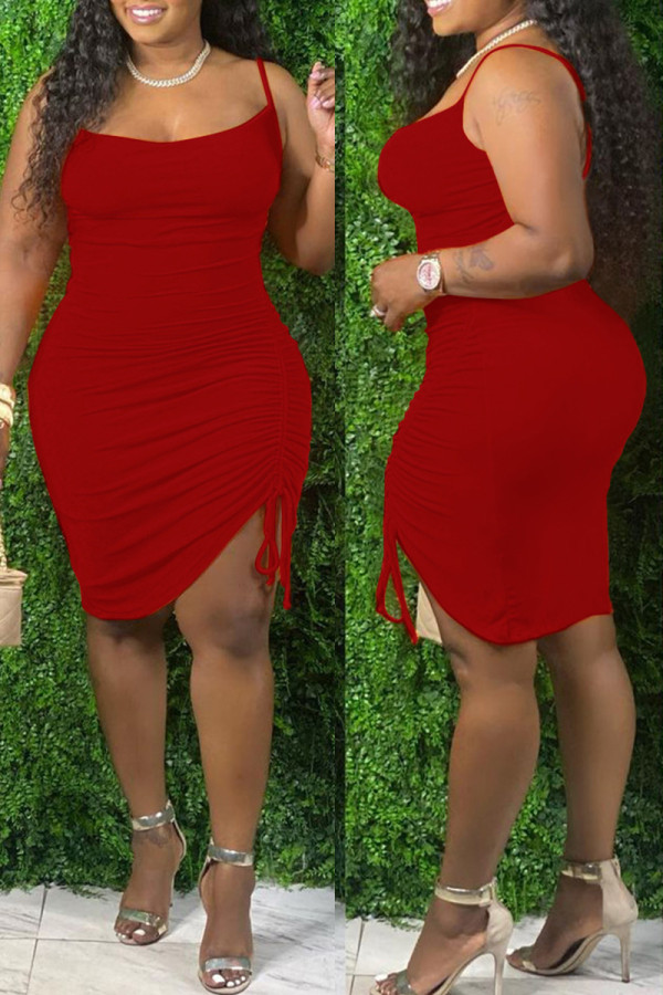 Red Fashion Sexy Plus Size Solid Draw String Backless Spaghetti Strap Sleeveless Dress