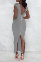 Grey Sexy Solid High Opening Zipper U Neck Pencil Skirt Dresses