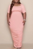 Pink Casual Solid Split Joint Fold U Neck Straight Plus Size Dresses