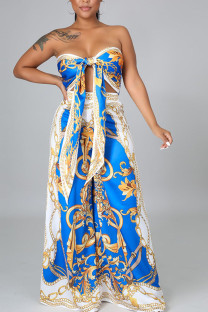 Colorful Blue Sexy Print Bandage Split Joint Knotted Strapless Sleeveless Two Pieces