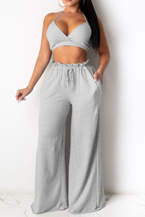 Grey Sexy Solid Split Joint Halter Sleeveless Two Pieces