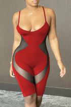 Red Sportswear Solid Mesh Spaghetti Strap Skinny Jumpsuits