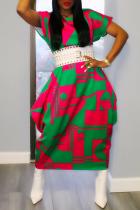 Green Sexy Print Split Joint O Neck Straight Plus Size Dresses
