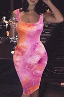 Pink Sexy Print Split Joint U Neck Pencil Skirt Dresses