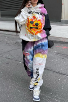 Colour Casual Print Split Joint Hooded Collar Long Sleeve Two Pieces