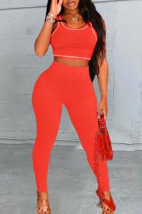 Tangerine Sportswear Solid Split Joint U Neck Sleeveless Two Pieces