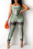 Green Fashion Sexy Print Backless Strapless Sleeveless Two Pieces