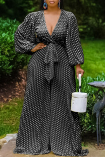 Black Fashion Casual Dot Print Bandage V Neck Plus Size Jumpsuits