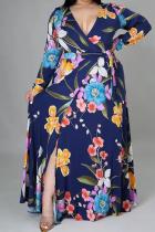 Blue Casual Print High Opening V Neck Cake Skirt Plus Size Dresses