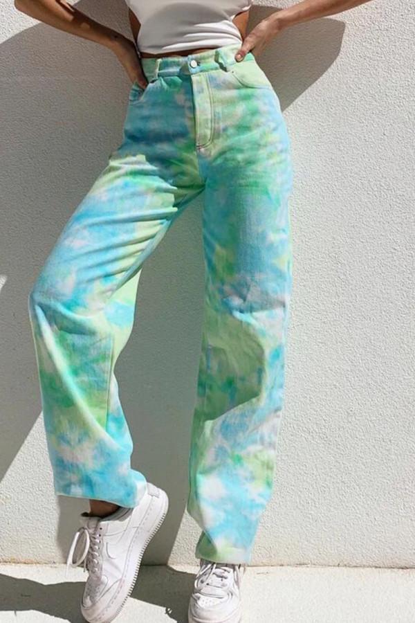 Green Casual Print Tie Dye Split Joint Straight Denim Jeans