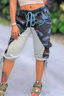 Blue Fashion Casual Camouflage Print Split Joint Regular Mid Waist Pants