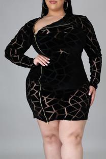 Black Sexy Solid Split Joint See-through Zipper Half A Turtleneck Pencil Skirt Plus Size Dresses