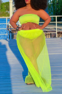 Fluorescent Green Sexy Solid See-through Mesh Swimwears Cover Up
