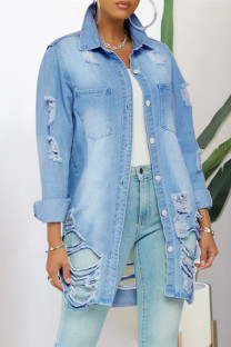 Baby Blue Fashion Casual Solid Ripped Turndown Collar Plus Size Overcoat