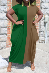 Green Casual Solid Split Joint O Neck Straight Dresses