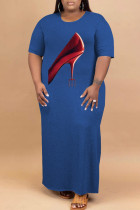 Blue Fashion Casual Plus Size Print Slit O Neck Short Sleeve Dress