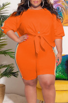 Tangerine Casual Striped Print Bandage Split Joint O Neck Plus Size Two Pieces