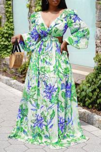 Green Casual Print Split Joint V Neck Cake Skirt Dresses