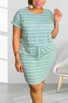 Blue Casual Striped Print Split Joint Frenulum O Neck Short Sleeve Dress Plus Size Dresses