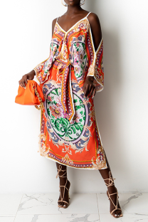 Orange Sexy Print Split Joint Spaghetti Strap Irregular Dress Dresses