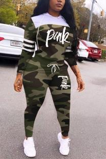 Army Green Casual Fashion Patchwork Camouflage Print Two Pieces