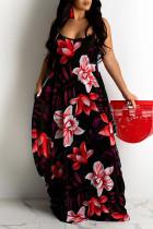 Red Sweet Print Split Joint Spaghetti Strap Sling Dress Dresses