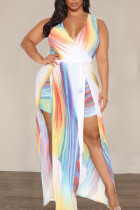 White Elegant Print Split Joint V Neck Evening Dress Plus Size Dresses