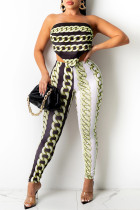 Light Green Fashion Sexy Print Bandage Backless Strapless Sleeveless Two Pieces