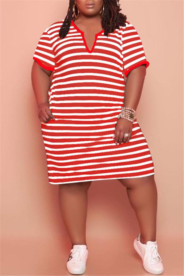 Red Fashion Casual Plus Size Striped Print Basic V Neck Short Sleeve Dress